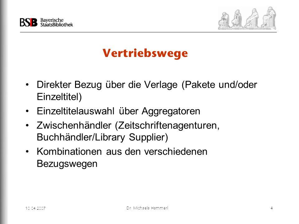 Vertriebswege Direkter Bezug über die Verlage (Pakete und/oder Einzeltitel) Einzeltitelauswahl über Aggregatoren.