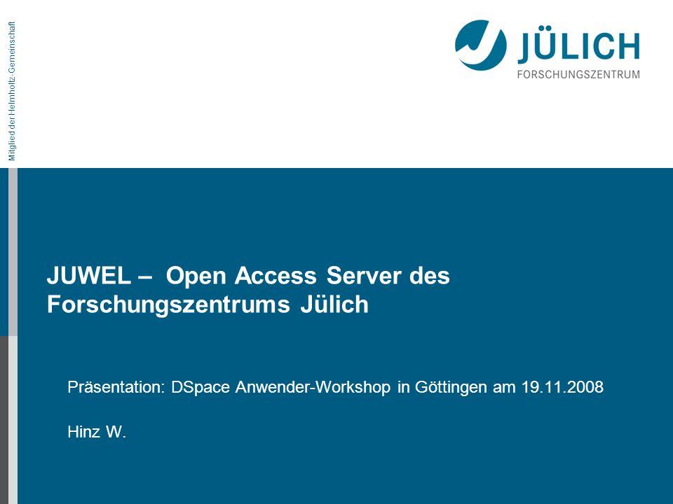 JUWEL – Open Access Server des Forschungszentrums Jülich