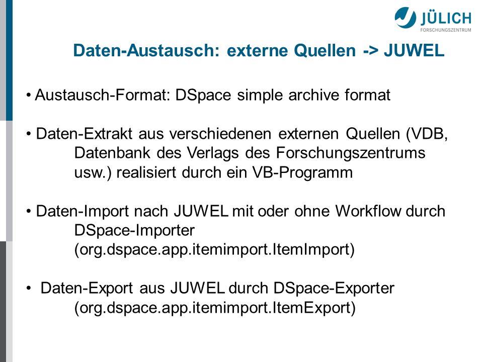 Daten-Austausch: externe Quellen -> JUWEL