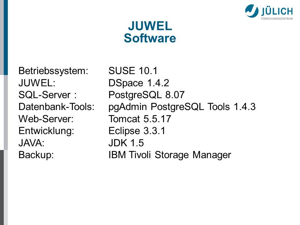 JUWEL Software Betriebssystem: SUSE 10.1 JUWEL: DSpace 1.4.2
