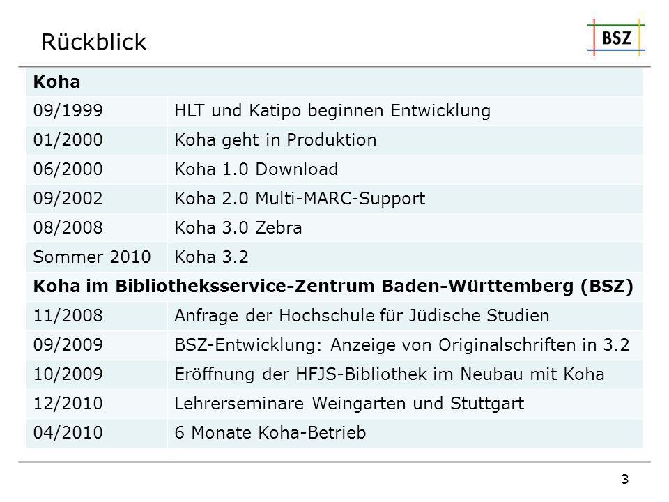 Rückblick Koha 09/1999 HLT und Katipo beginnen Entwicklung 01/2000