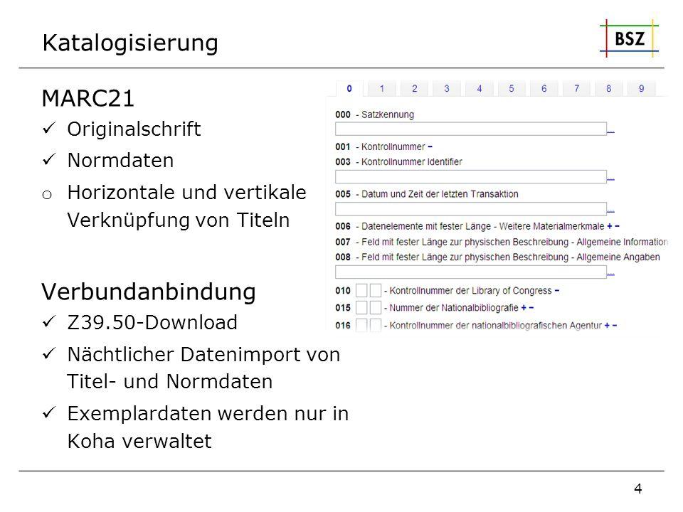 Katalogisierung MARC21 Verbundanbindung Originalschrift Normdaten