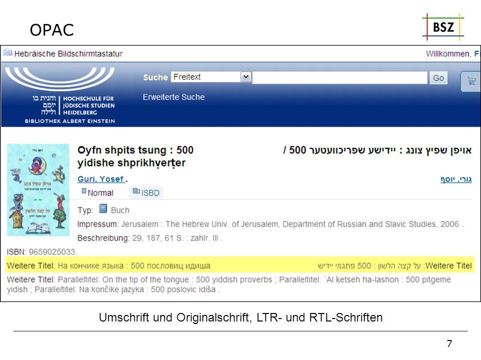 OPAC Umschrift und Originalschrift, LTR- und RTL-Schriften