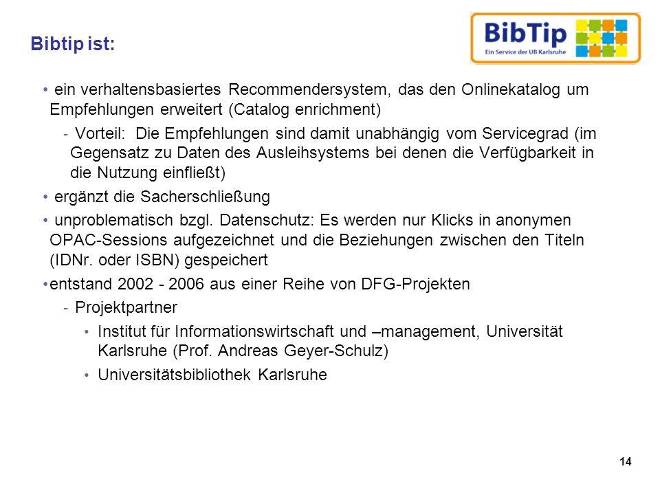 Bibtip ist: ein verhaltensbasiertes Recommendersystem, das den Onlinekatalog um Empfehlungen erweitert (Catalog enrichment)