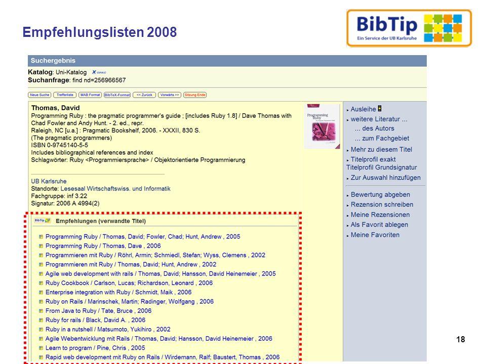 Empfehlungslisten 2008