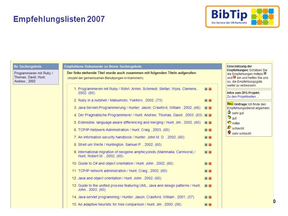 Empfehlungslisten 2007