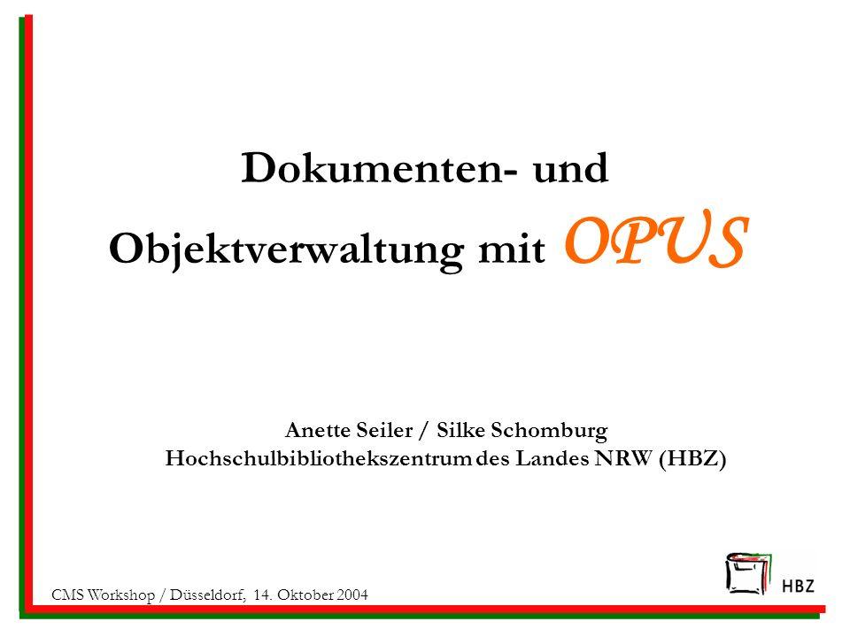 Dokumenten- und Objektverwaltung mit OPUS