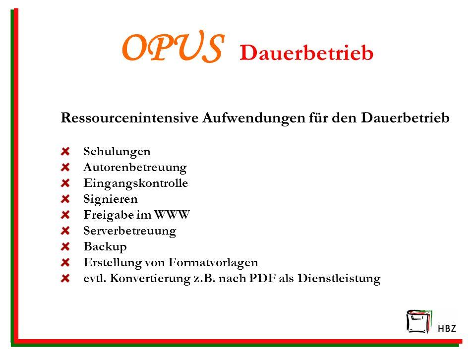 OPUS Dauerbetrieb Ressourcenintensive Aufwendungen für den Dauerbetrieb. Schulungen. Autorenbetreuung.
