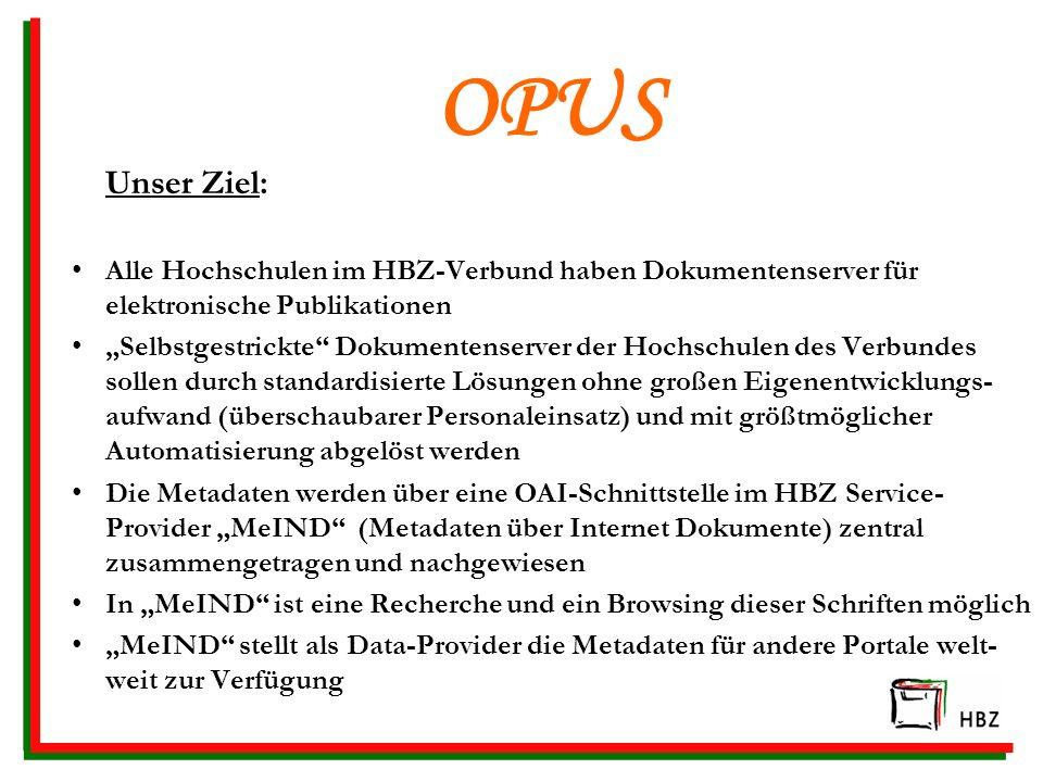 OPUS Unser Ziel: Alle Hochschulen im HBZ-Verbund haben Dokumentenserver für elektronische Publikationen.