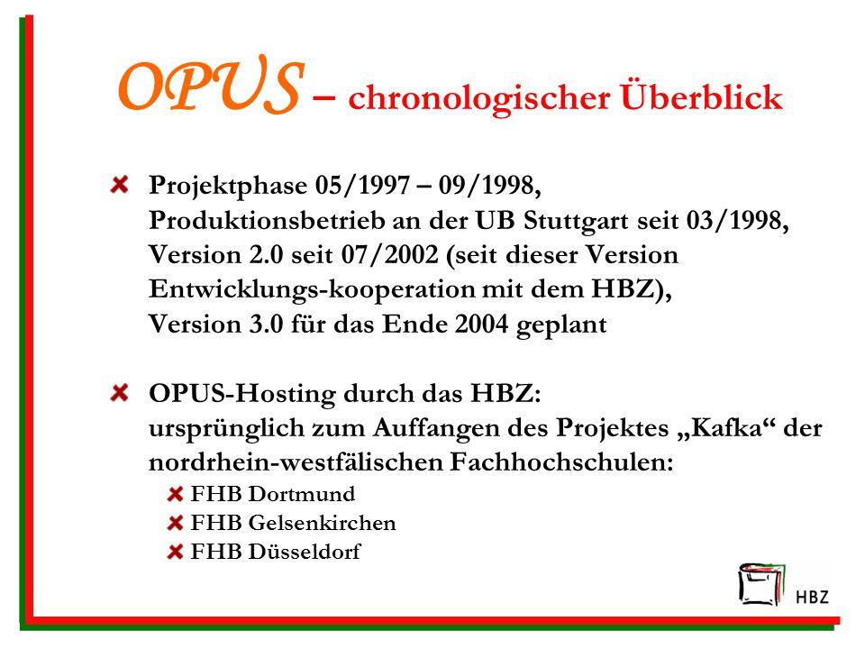 OPUS – chronologischer Überblick
