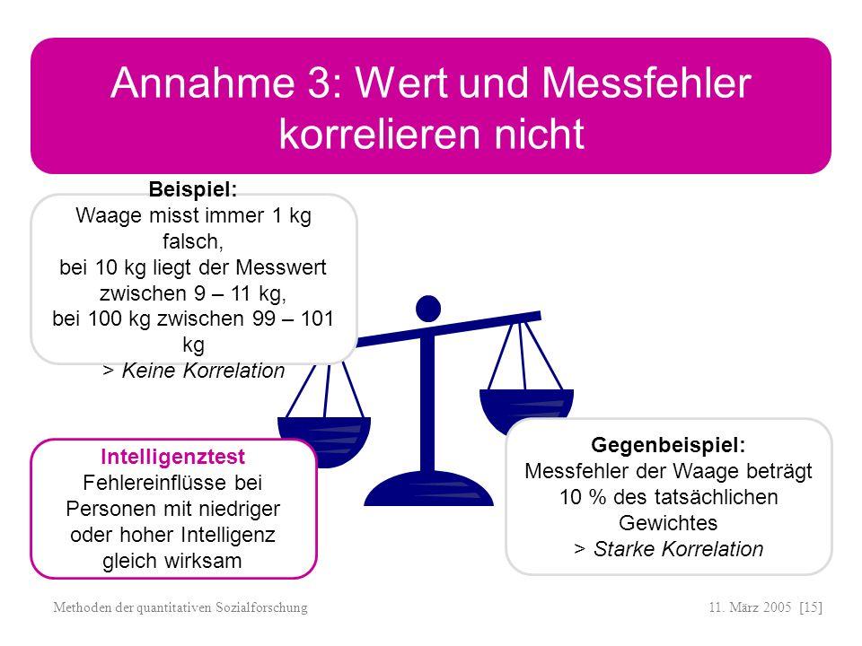 Annahme 3: Wert und Messfehler korrelieren nicht