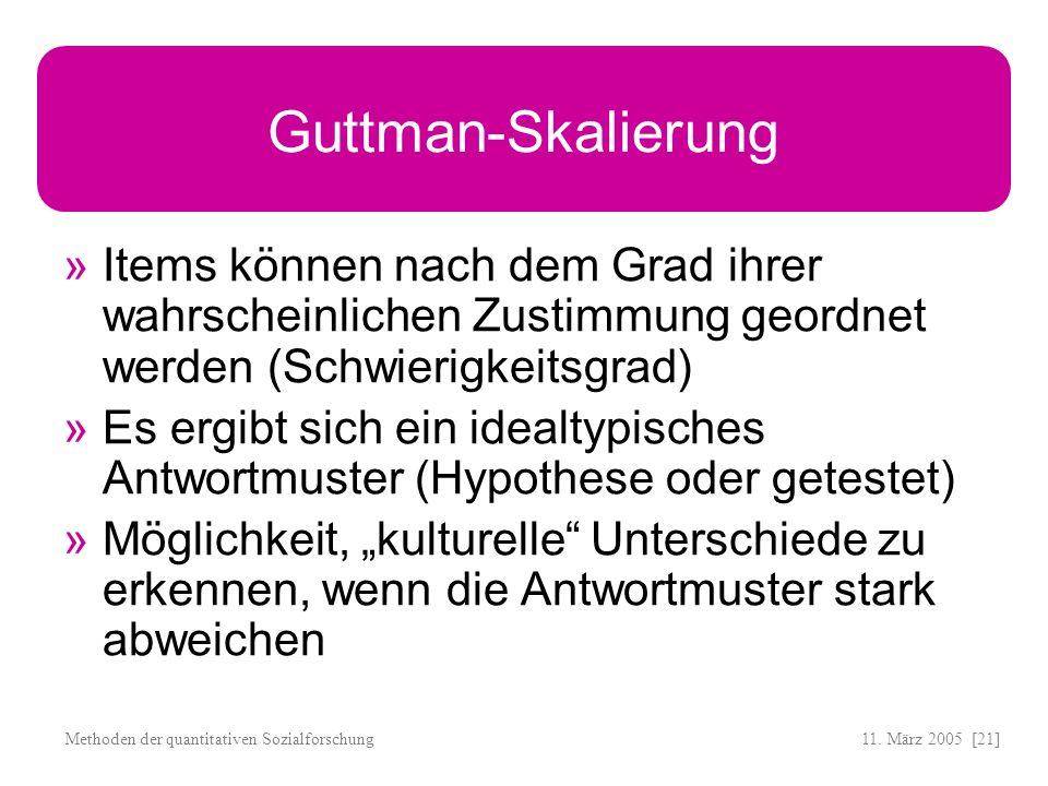 Guttman-Skalierung Items können nach dem Grad ihrer wahrscheinlichen Zustimmung geordnet werden (Schwierigkeitsgrad)