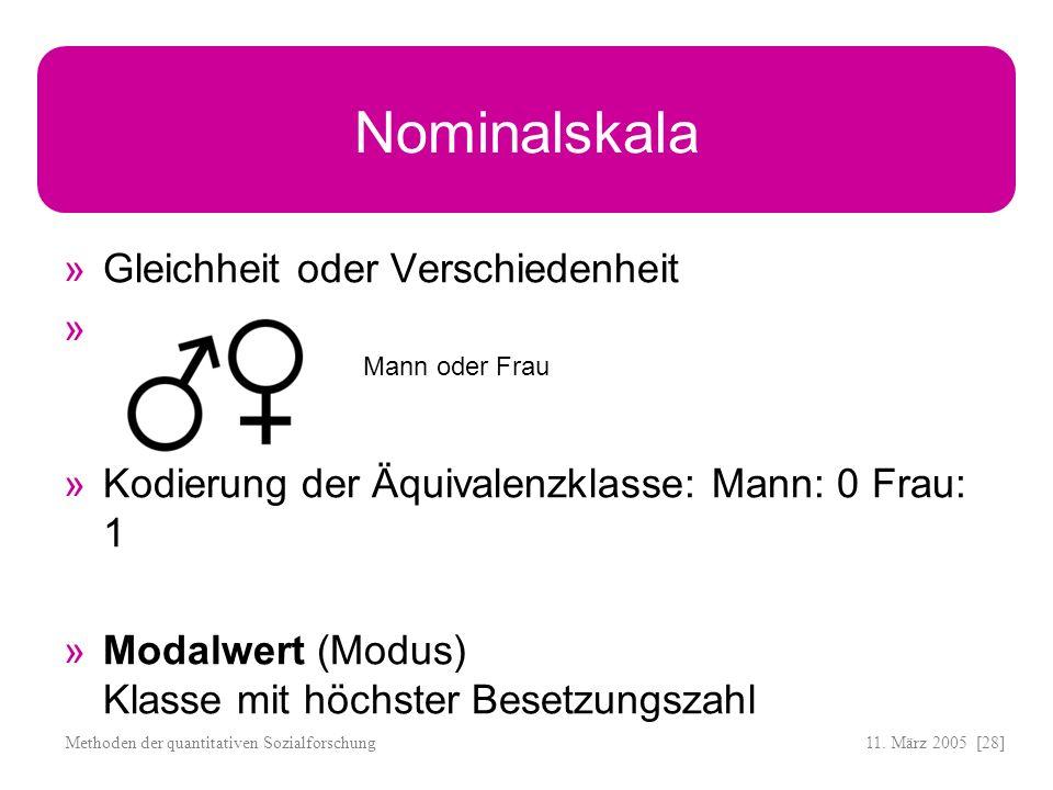 Nominalskala Gleichheit oder Verschiedenheit