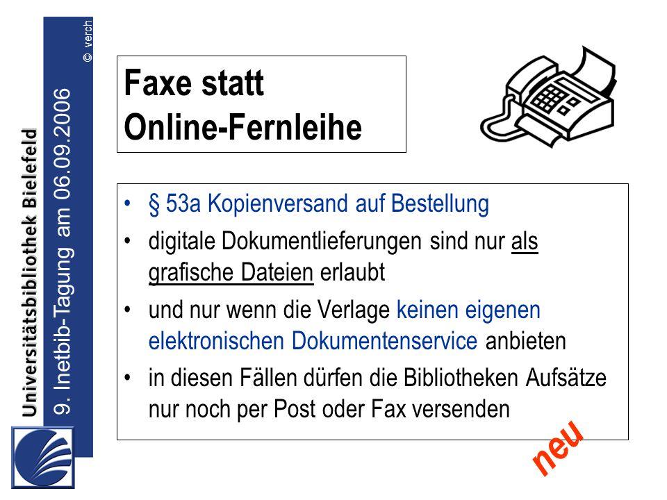 Faxe statt Online-Fernleihe