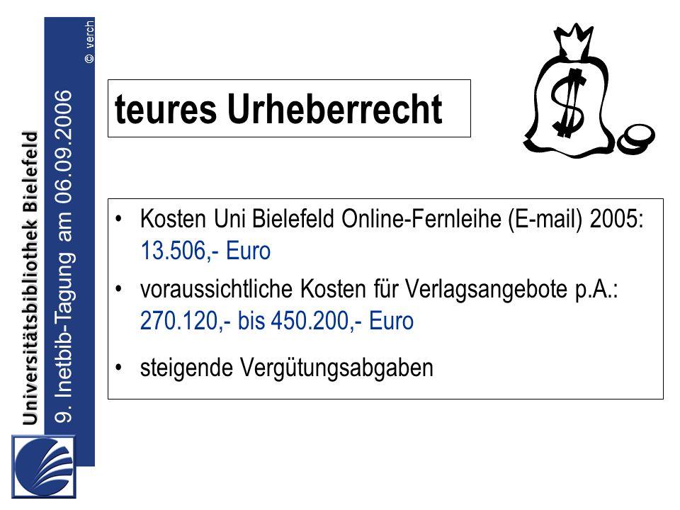 teures Urheberrecht Kosten Uni Bielefeld Online-Fernleihe (E-mail) 2005: 13.506,- Euro. voraussichtliche Kosten für Verlagsangebote p.A.: