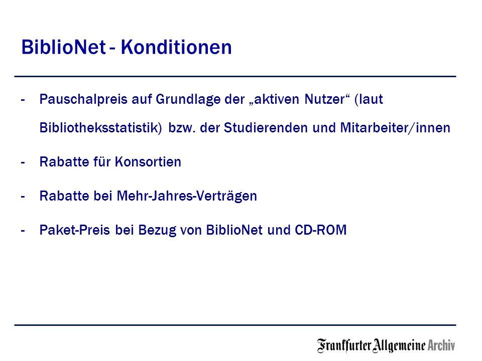 BiblioNet - Konditionen