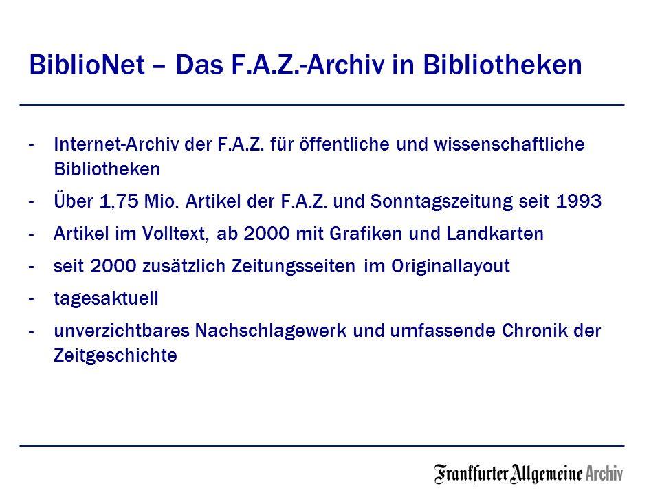 BiblioNet – Das F.A.Z.-Archiv in Bibliotheken