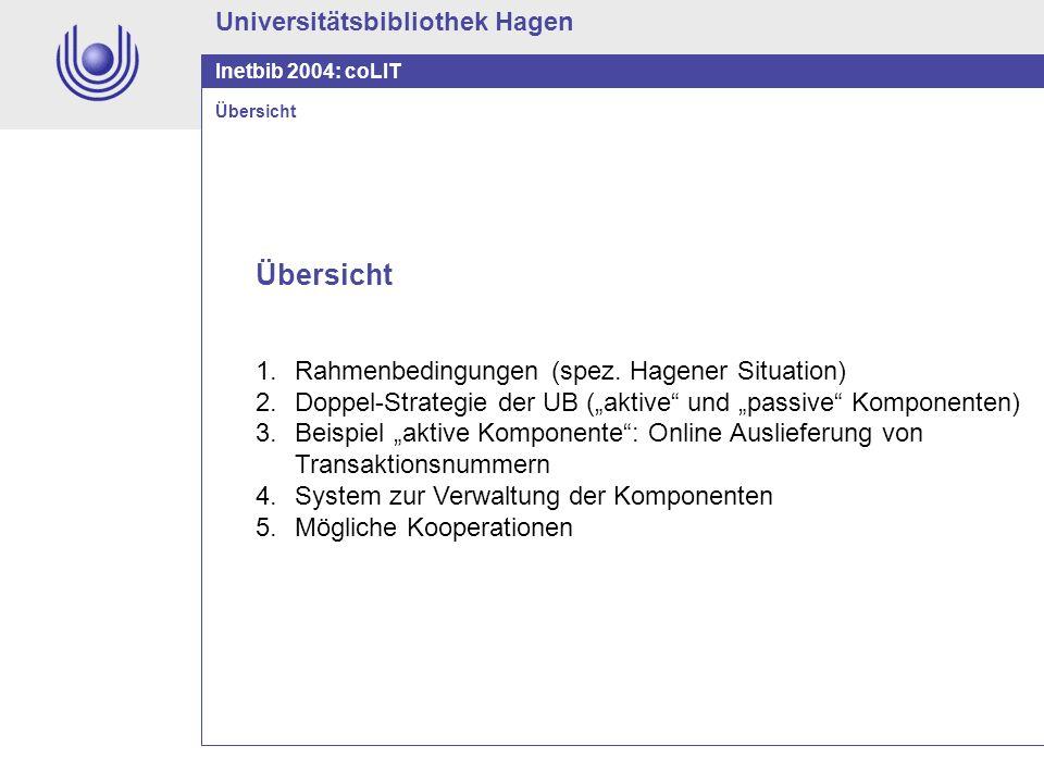 Übersicht Universitätsbibliothek Hagen