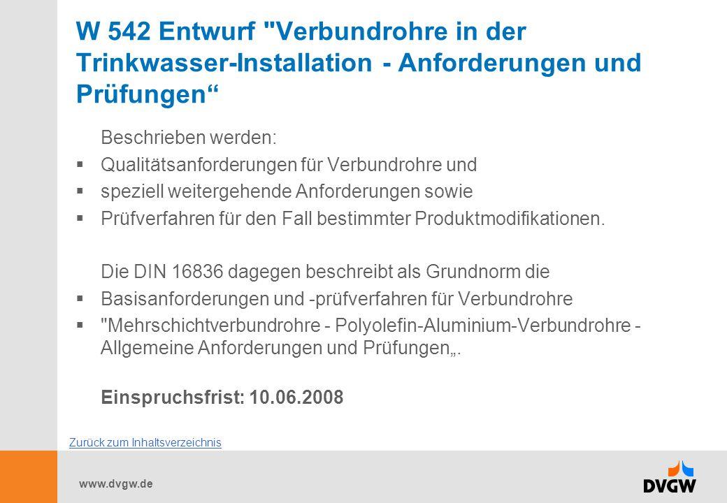 W 542 Entwurf Verbundrohre in der Trinkwasser-Installation - Anforderungen und Prüfungen