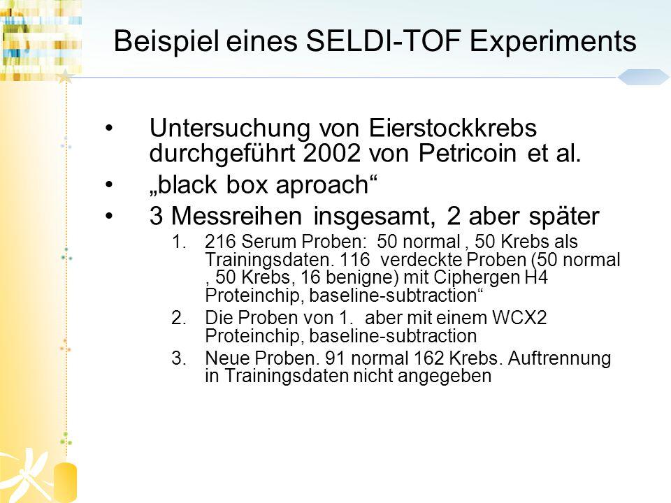 Beispiel eines SELDI-TOF Experiments