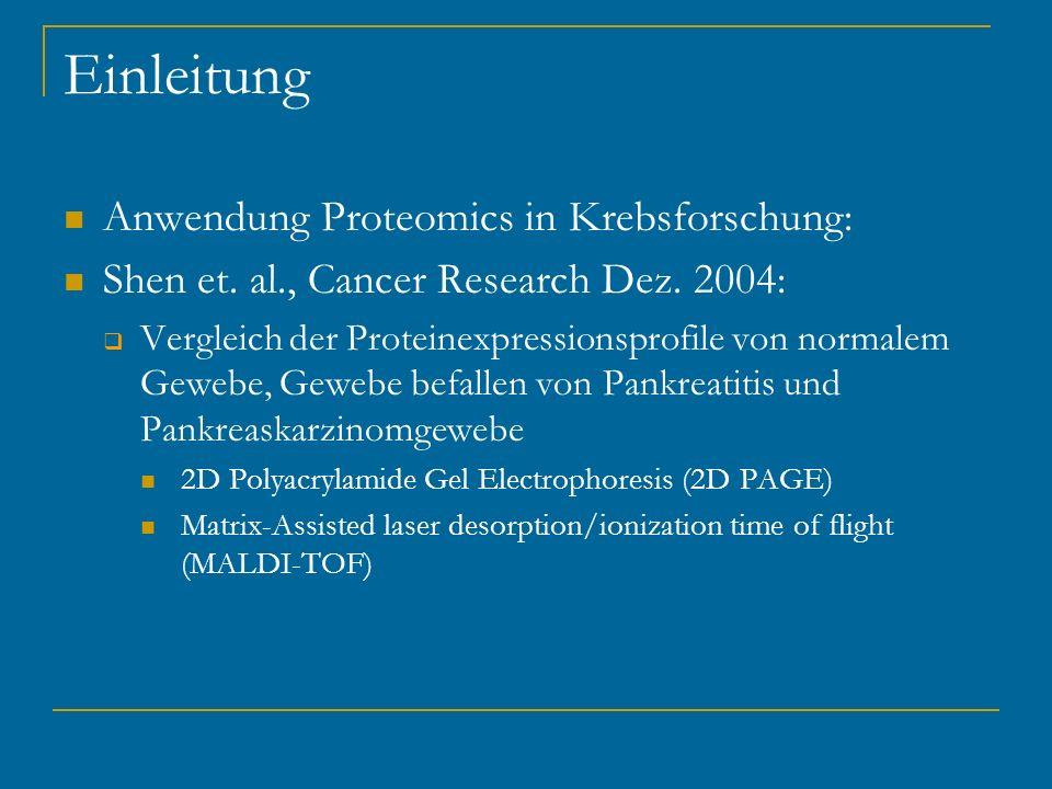 Einleitung Anwendung Proteomics in Krebsforschung: