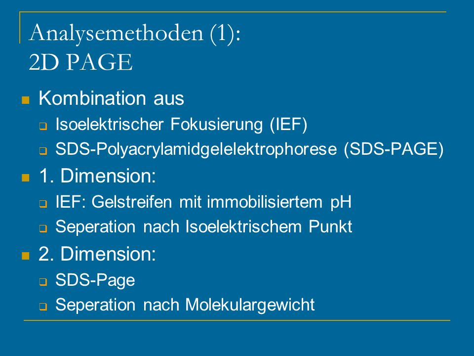 Analysemethoden (1): 2D PAGE
