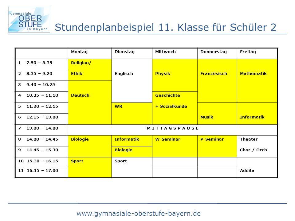 Stundenplanbeispiel 11. Klasse für Schüler 2