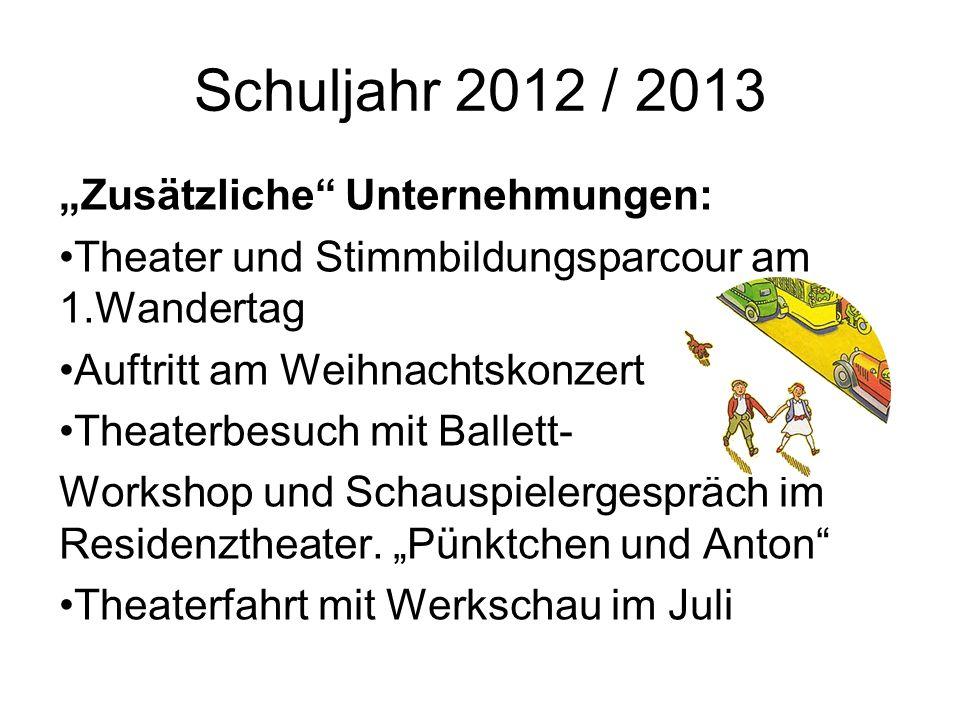 """Schuljahr 2012 / 2013 """"Zusätzliche Unternehmungen:"""