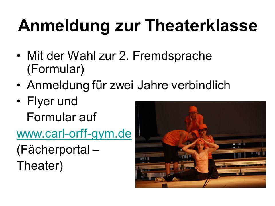 Anmeldung zur Theaterklasse