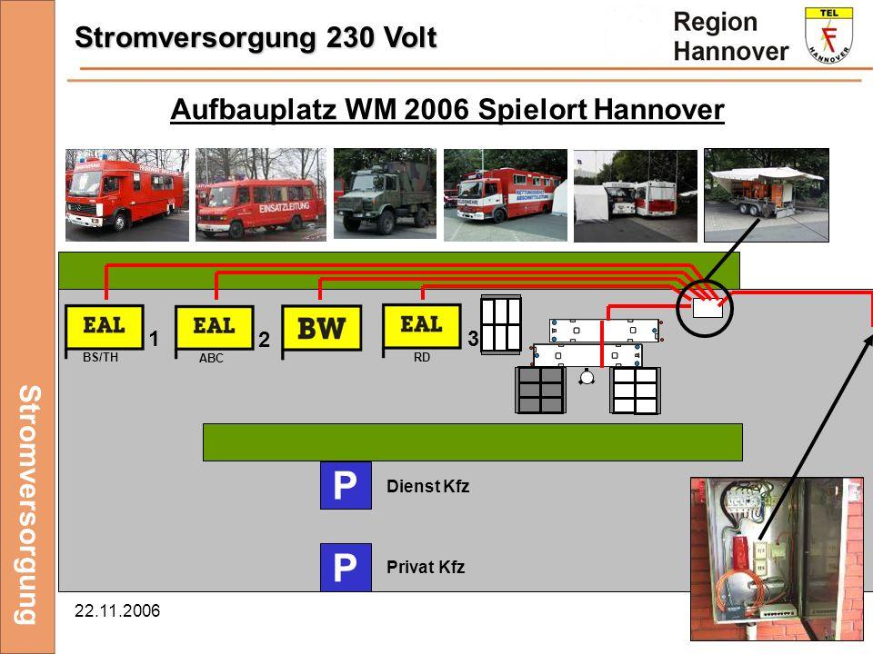 P Stromversorgung 230 Volt Aufbauplatz WM 2006 Spielort Hannover