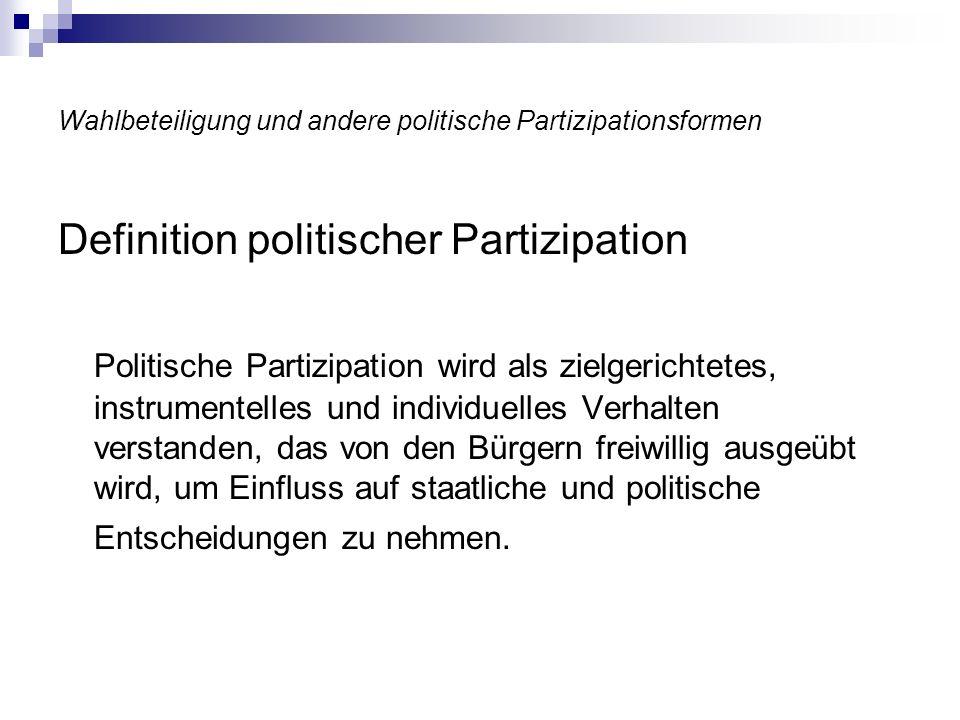 Wahlbeteiligung und andere politische Partizipationsformen