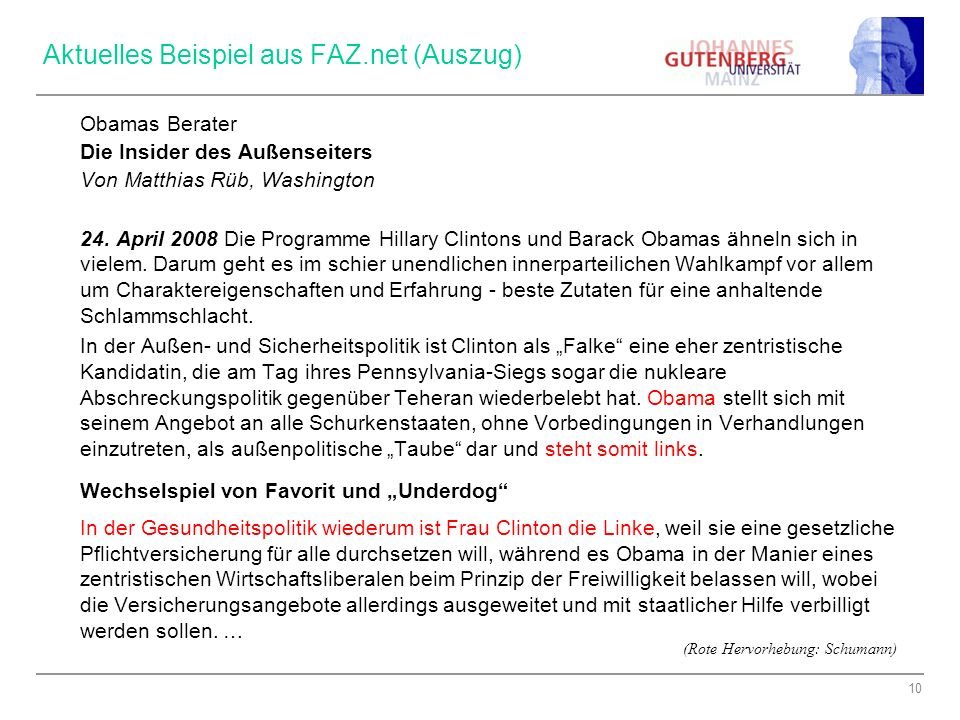 Aktuelles Beispiel aus FAZ.net (Auszug)