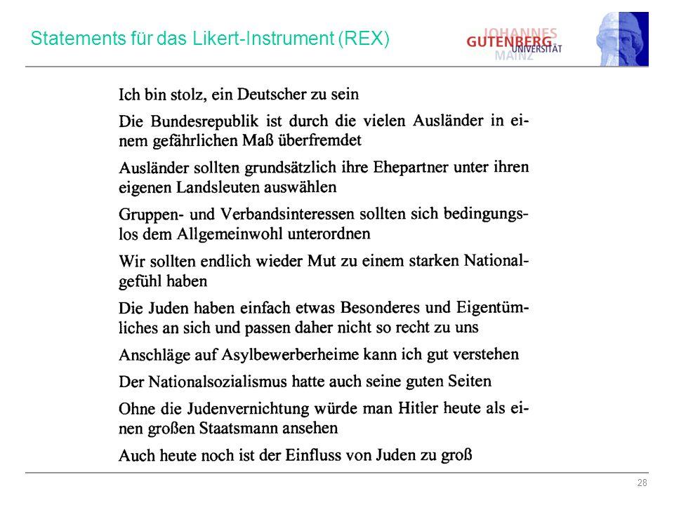 Statements für das Likert-Instrument (REX)