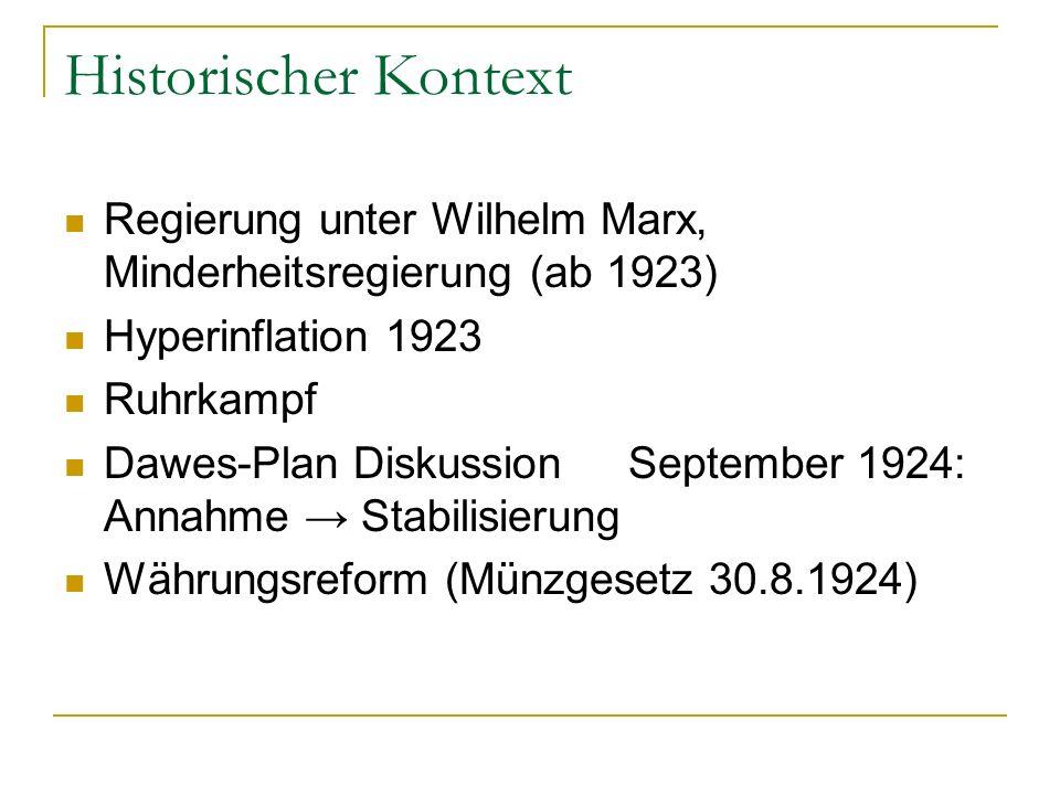 Historischer Kontext Regierung unter Wilhelm Marx, Minderheitsregierung (ab 1923) Hyperinflation 1923.