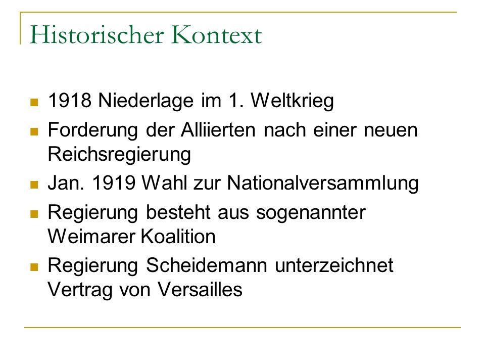 Historischer Kontext 1918 Niederlage im 1. Weltkrieg