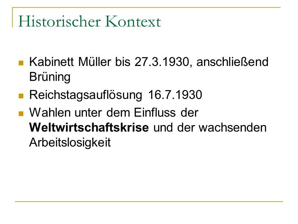 Historischer Kontext Kabinett Müller bis 27.3.1930, anschließend Brüning. Reichstagsauflösung 16.7.1930.
