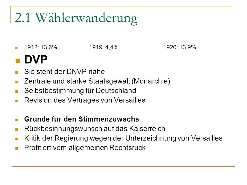2.1 Wählerwanderung DVP Sie steht der DNVP nahe