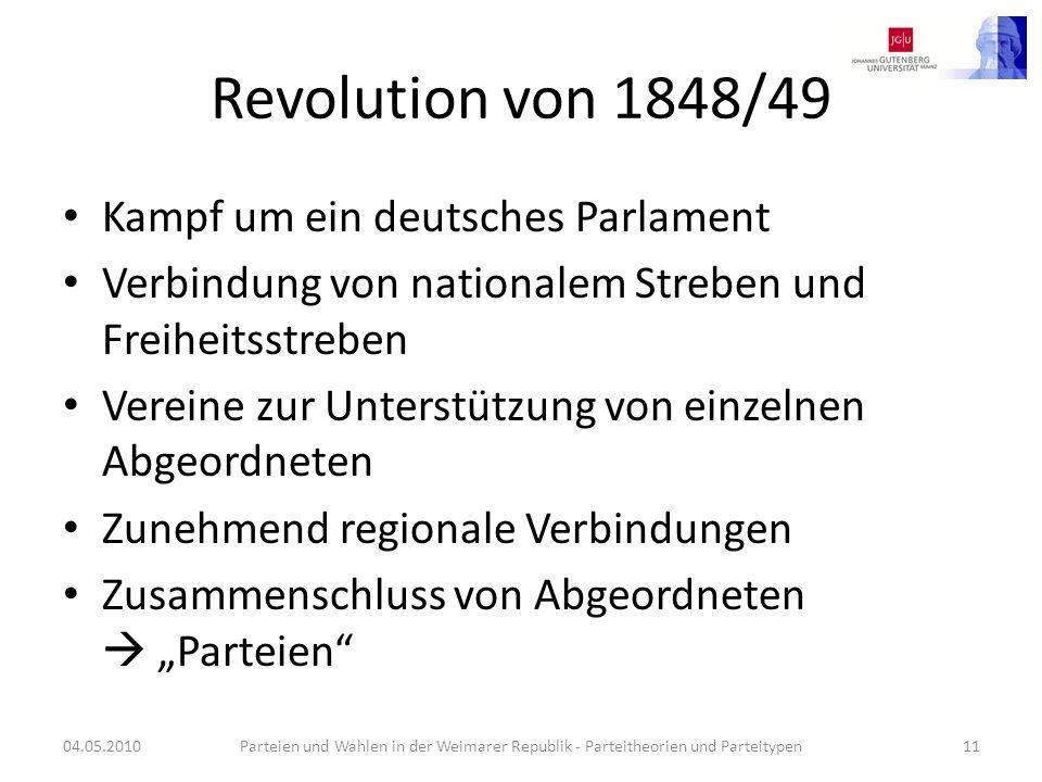 Revolution von 1848/49 Kampf um ein deutsches Parlament