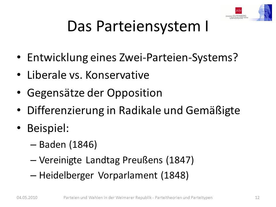 Das Parteiensystem I Entwicklung eines Zwei-Parteien-Systems