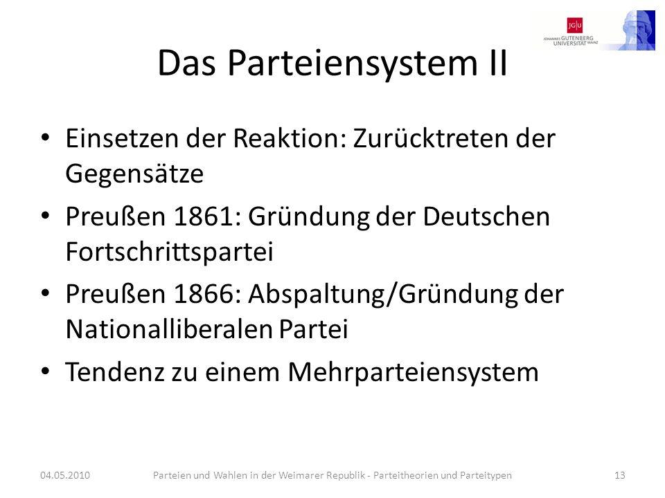 Das Parteiensystem II Einsetzen der Reaktion: Zurücktreten der Gegensätze. Preußen 1861: Gründung der Deutschen Fortschrittspartei.