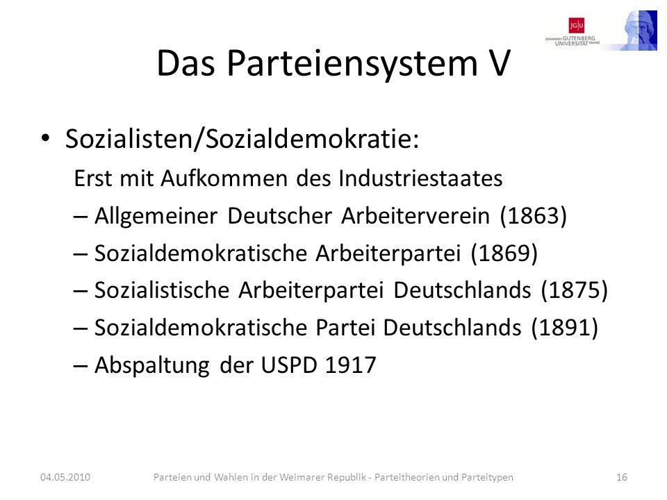 Das Parteiensystem V Sozialisten/Sozialdemokratie: