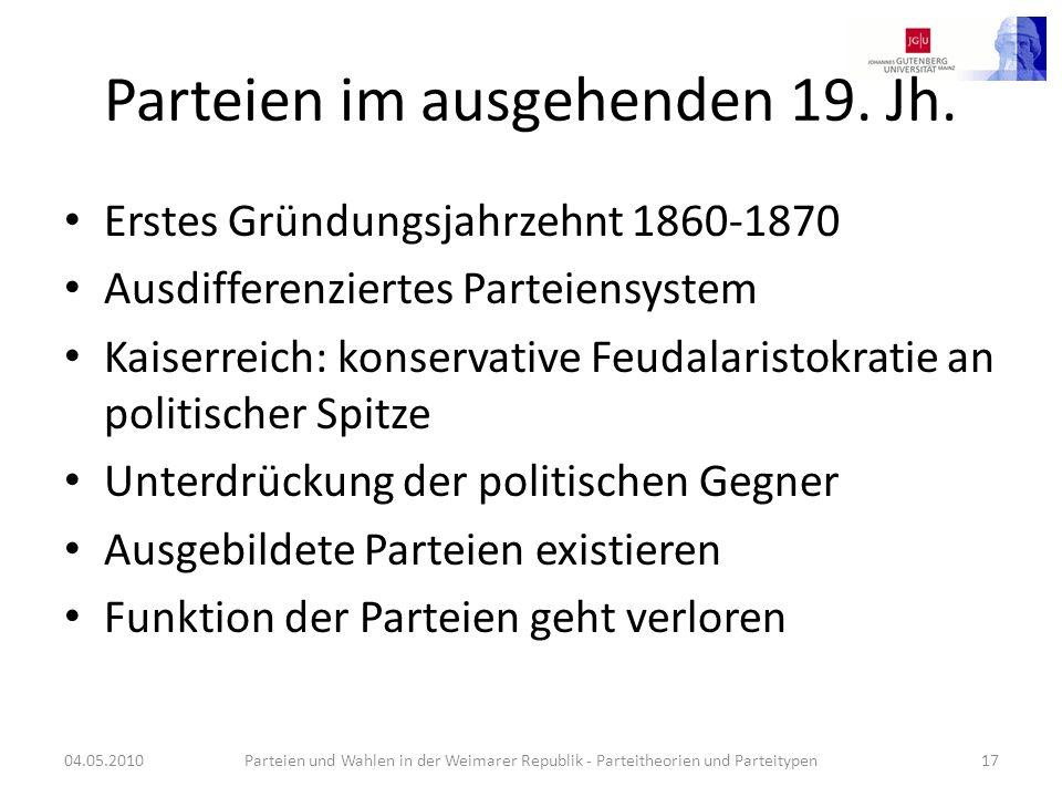 Parteien im ausgehenden 19. Jh.