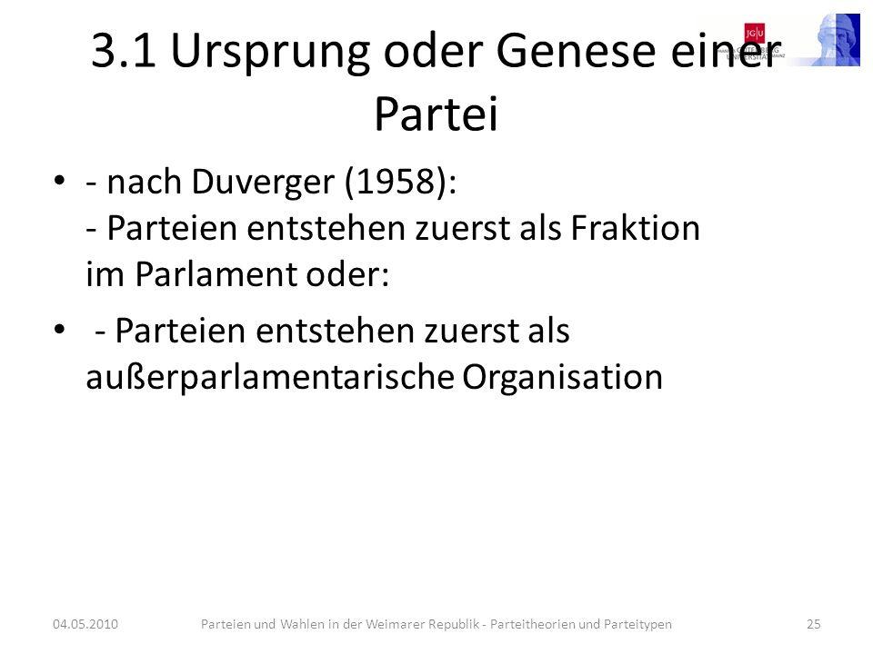 3.1 Ursprung oder Genese einer Partei