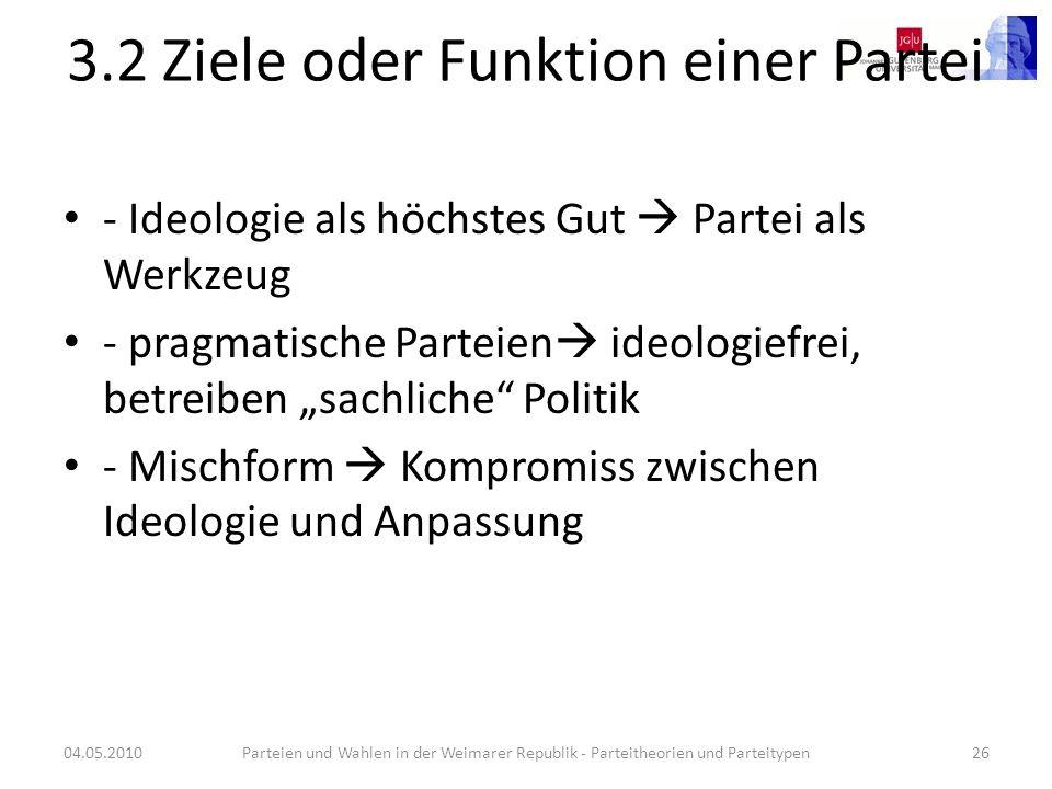 3.2 Ziele oder Funktion einer Partei