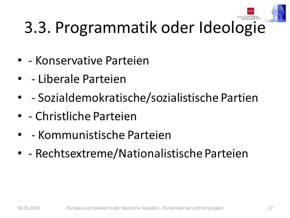 3.3. Programmatik oder Ideologie