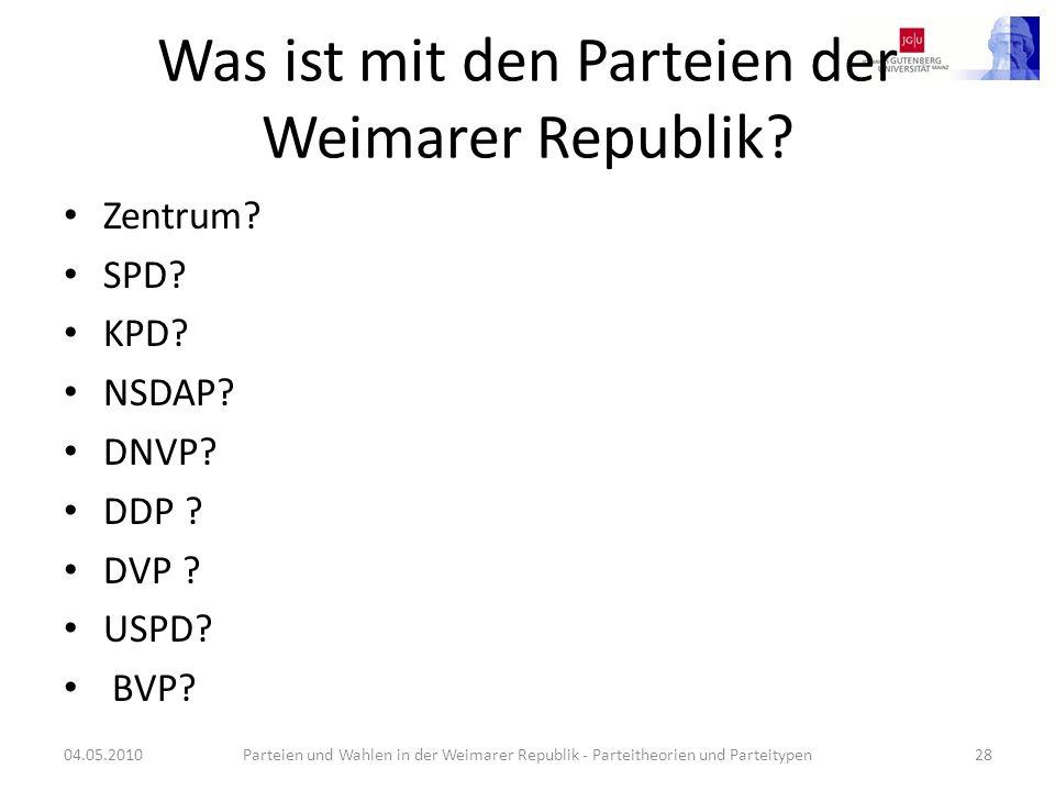 Was ist mit den Parteien der Weimarer Republik