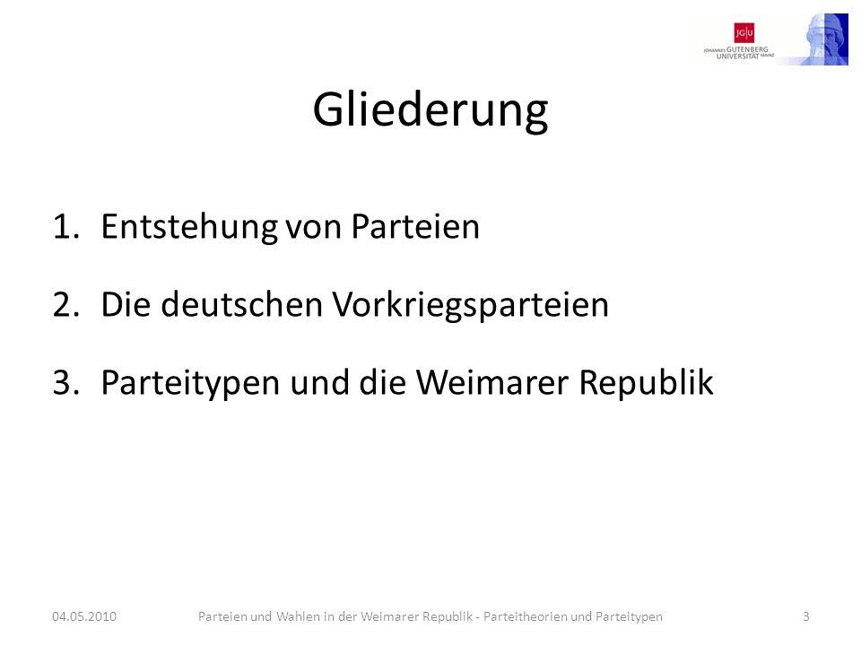 Gliederung Entstehung von Parteien Die deutschen Vorkriegsparteien