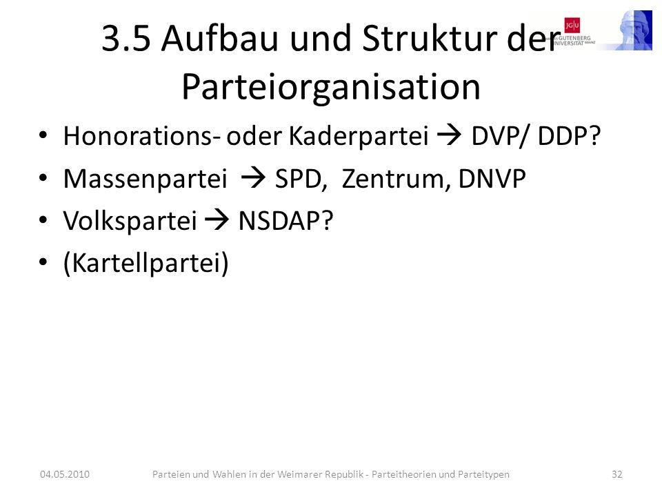 3.5 Aufbau und Struktur der Parteiorganisation
