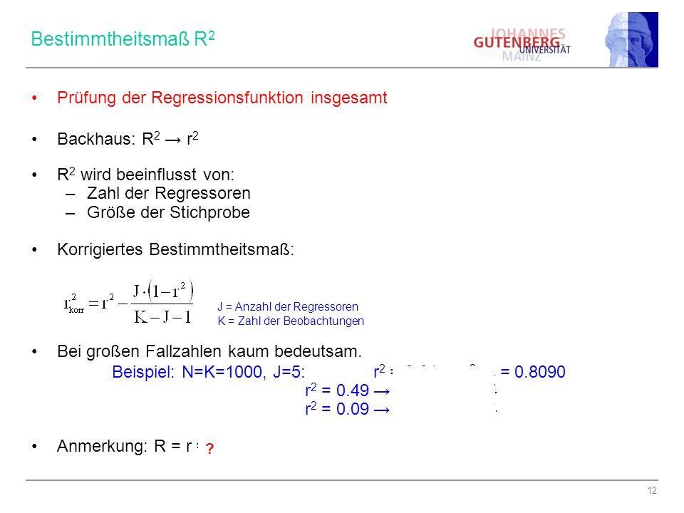 Bestimmtheitsmaß R2 Prüfung der Regressionsfunktion insgesamt