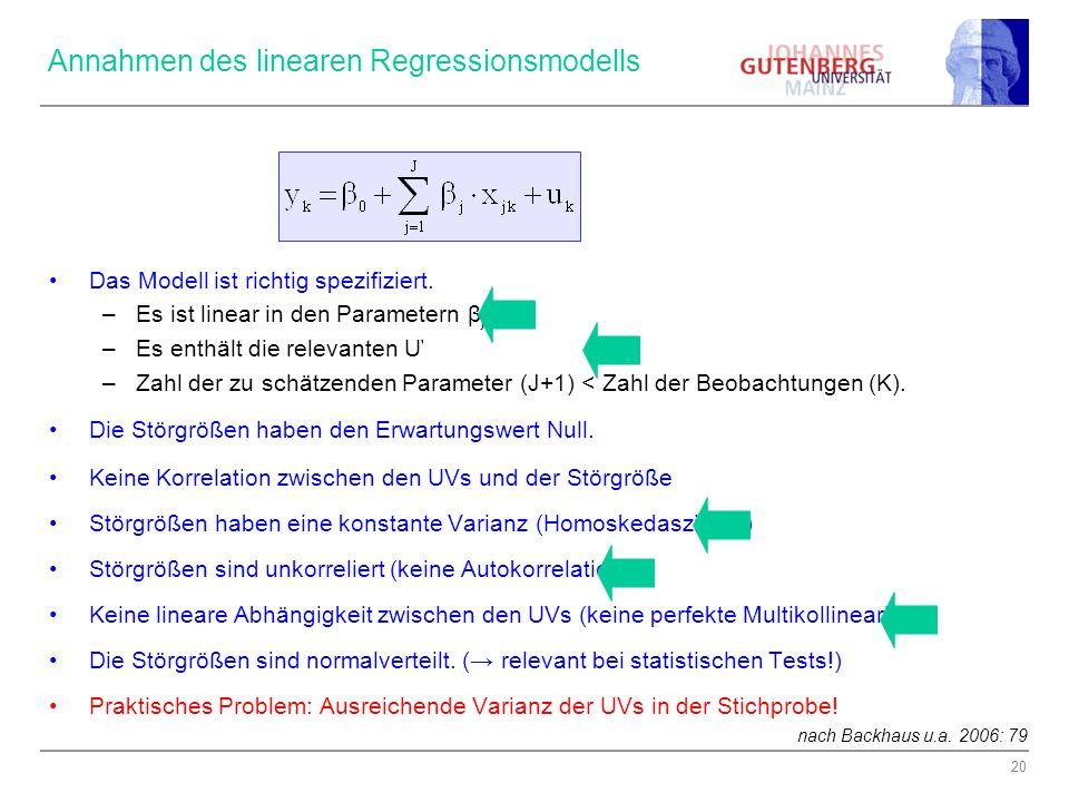 Annahmen des linearen Regressionsmodells